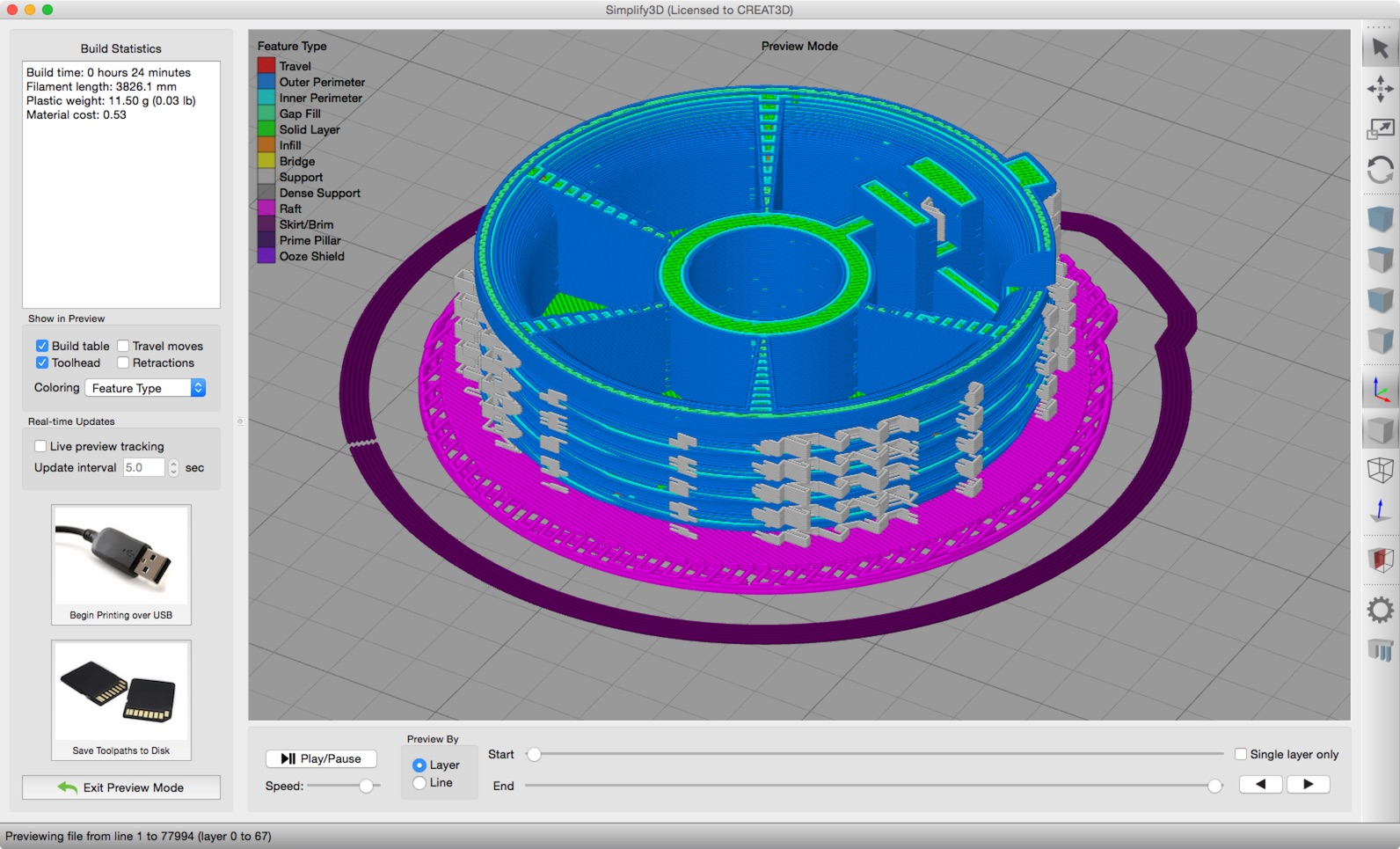 Simplify3D gcode visualisation image