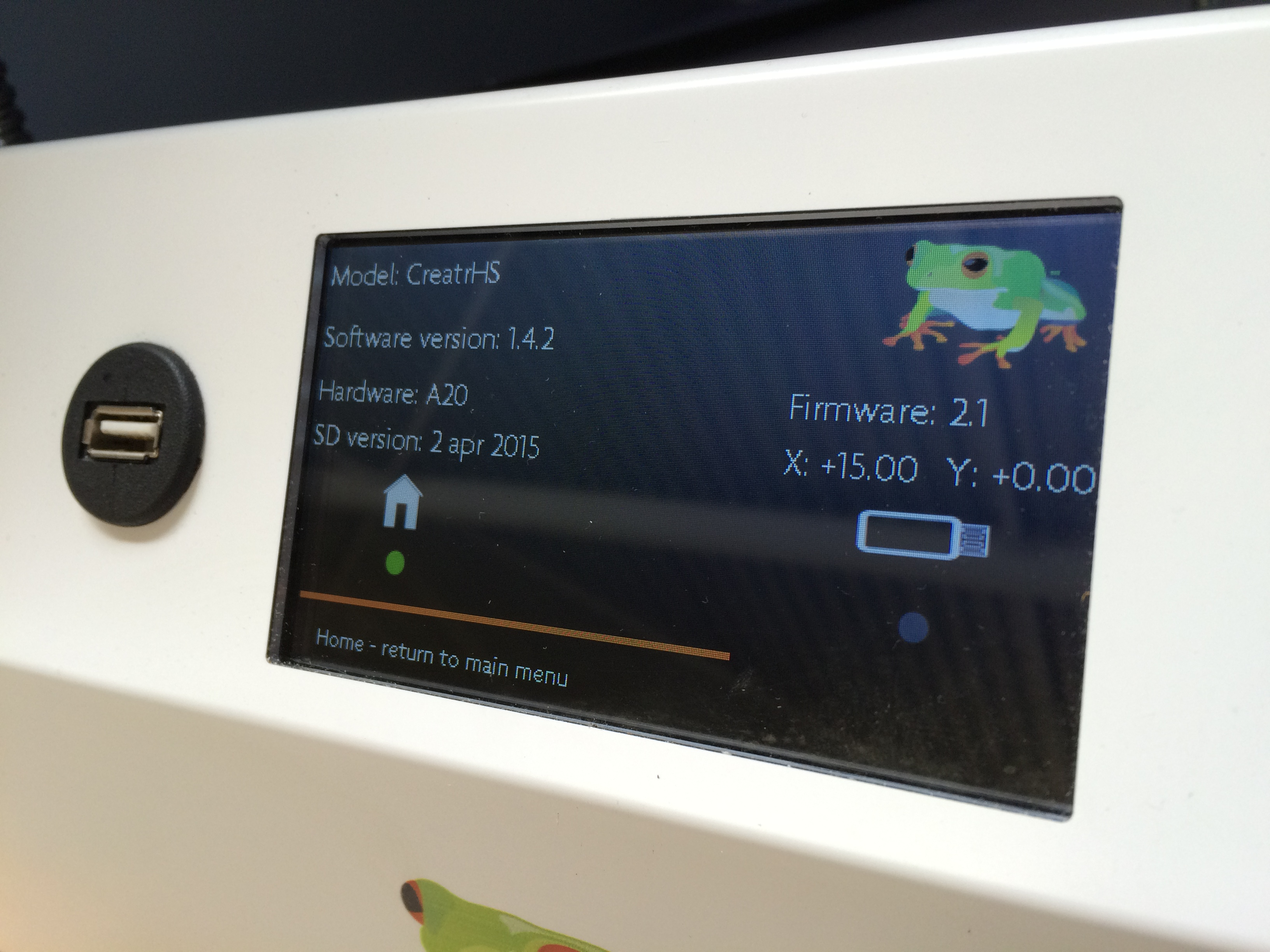 Leapfrog Creatr HS 3D printer info screen